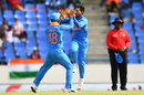 Kuldeep Yadav celebrates a wicket with Virat Kohli, West Indies v India, 3rd ODI, Antigua, June 30, 2017