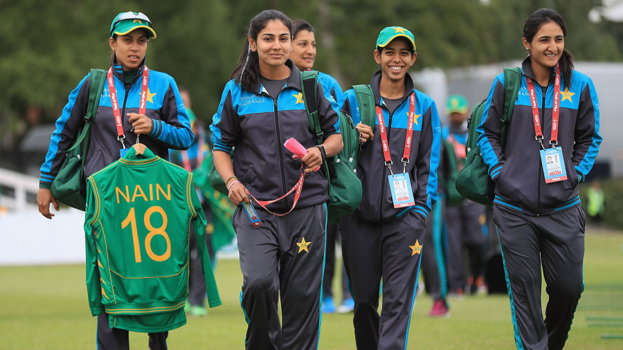 Pakistan players arrive for the game