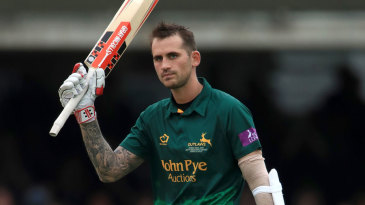 Alex Hales celebrates his hundred