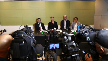 Usman Khawaja, Clea Smith, Alistair Nicholson and Shane Watson attend a press briefing