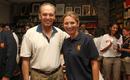 Charlotte Edwards meets former USA captain Kamran Khan, Haverford, Pennsylvania, USA, September 9, 2016