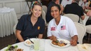 Charlotte Edwards shares a post-game meal with USA star Shebani Bhaskar, Philadelphia, September 11, 2016