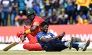 Nuwan Pradeep clutches his wrist in pain, Sri Lanka v Zimbabwe, 2nd ODI, Galle, July 2, 2017