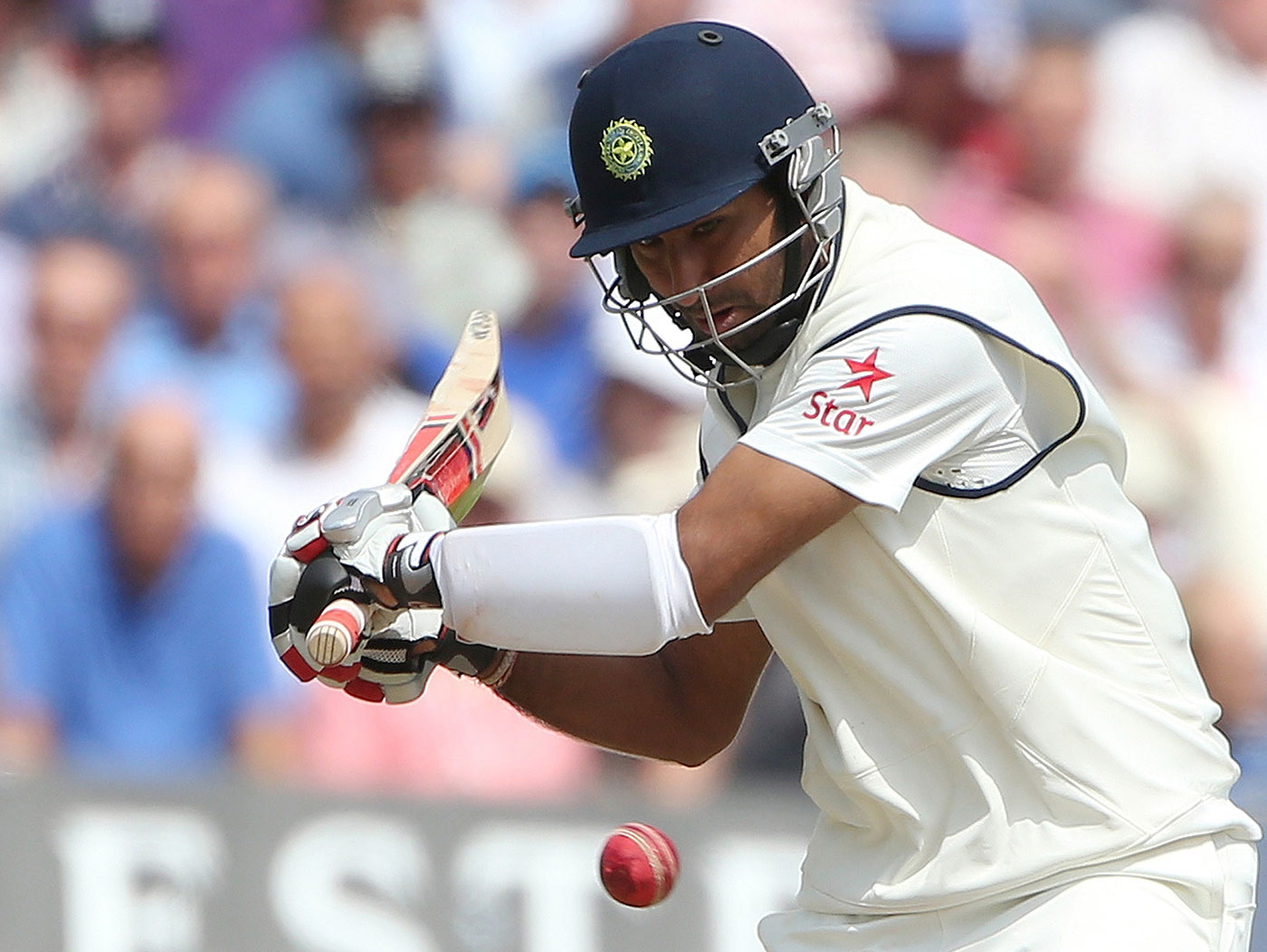 Cheteshwar Pujara watches the ball