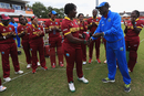 Sixteen-year-old debutant Qiana Joseph gets her cap from Ezra Moseley, South Africa v West Indies, Women's World Cup 2017, Leicester, July 2, 2017