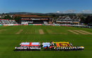 The teams line up for the anthems, England v Sri Lanka, Women's World Cup, Taunton, July 2, 2017