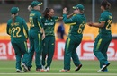 Shabnim Ismail is congratulated on the wicket of Hayley Matthews, South Africa v West Indies, Women's World Cup, Leicester, July 2, 2017