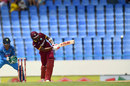 Kyle Hope clips one wide of long-on against the bowling of Ravindra Jadeja, West Indies v India, 4th ODI, Antigua, July 2, 2017