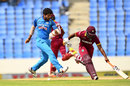 Umesh Yadav looks to  run Evin Lewis out with some footwork, West Indies v India, 4th ODI, Antigua, July 2, 2017