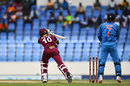 Roston Chase plays across a wrong'un from Kuldeep Yadav, West Indies v India, 4th ODI, Antigua, July 2, 2017