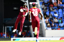 Ashley Nurse leaps in the air after dismissing Kedar Jadhav, West Indies v India, 4th ODI, Antigua, July 2, 2017