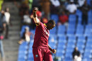Jason Holder pumps his fist after dismissing Hardik Pandya, West Indies v India, 4th ODI, Antigua, July 2, 2017