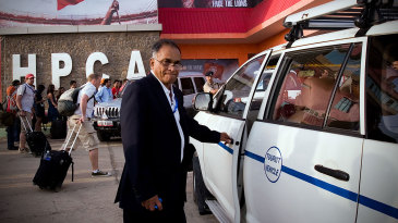 Niranjan Shah arrives at an IPL match