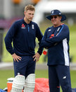 Joe Root and Trevor Bayliss chat at England training, Lord's, July 4, 2017