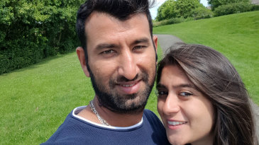 Cheteshwar Pujara with his wife Puja in UK