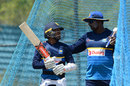 Kusal Mendis has a word with Sri Lanka batting coach Avishka Gunawardene, Hambantota, July 5, 2017