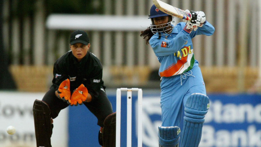 Mithali Raj drives towards mid-off