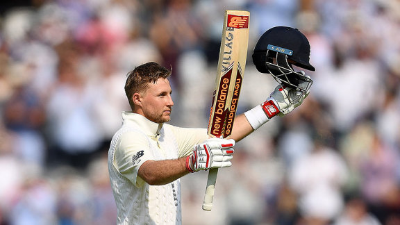 Joe Root celebrates a century in his maiden Test as captain