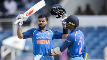 Virat Kohli lets out a roar after getting to his 28th ODI ton