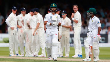 JP Duminy leaves the crease after falling to Stuart Broad
