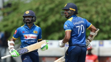 Danushka Gunathilaka and Niroshan Dickwella race through for a single
