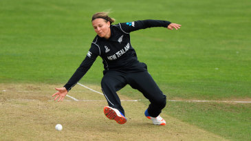 Lea Tahuhu sticks out a hand to field off her own bowling