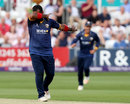 Ashar Zaidi 'dabs' after taking a wicket, Essex v Surrey, NatWest T20 Blast, South Group, Chelmsford, July 7, 2017