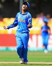 Ekta Bisht exults after taking out Trisha Chetty, India v South Africa, Women's World Cup 2017, Leicester, July 8, 2017