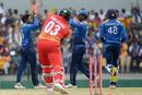Wanidu Hasaranga bowled Hamilton Masakadza for 28, ending a solid opening stand, Sri Lanka v Zimbabwe, 4th ODI, Hambantota, July 8, 2017