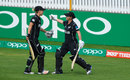 Sophie Devine is congratulated by Katey Martin as she walks off the park, New Zealand v Pakistan, Women's World Cup, Taunton, July 8, 2017