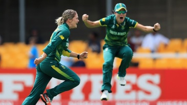 Dane van Niekerk sets off after bowling Mithali Raj for a duck