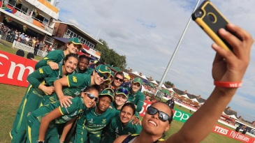 South Africa's players pose for  selfie