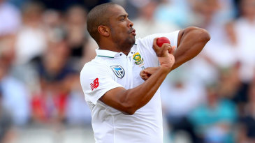 Vernon Philander in his pre-delivery leap