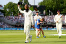 Moeen Ali leads England from the field after wrapping up victory in the first Test, England v South Africa, 1st Investec Test, Lord's, 4th day, July 9, 2017