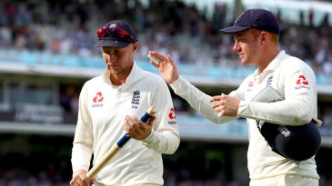 Joe Root leaves the field after sealing victory in his first Test as captain