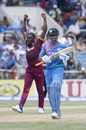 Jerome Taylor celebrates the wicket of MS Dhoni, West Indies v India, Only T20I, Kingston, July 9, 2017