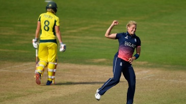 Katherine Brunt celebrates the wicket of Ellyse Perry