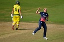 Katherine Brunt celebrates the wicket of Ellyse Perry, England v Australia, Women's World Cup, Bristol, July 9, 2017