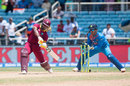 Evin Lewis takes on the spin and hits off the front foot, West Indies v India, Only T20I, Kingston, July 9, 2017