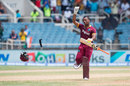 Evin Lewis chucks his helmet to the floor to celebrate his second T20I hundred, West Indies v India, Only T20I, Kingston, July 9, 2017