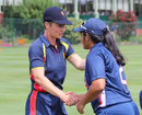 Claire Taylor shakes hands with USA's Shebani Bhaskar, USA Women v MCC Women, Philadelphia, September 11, 2016