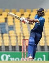 Danushka Gunathilaka kept Sri Lanka fighting with this third successive score of over fifty, Sri Lanka v Zimbabwe, 5th ODI, Hambantota, July 10, 2017