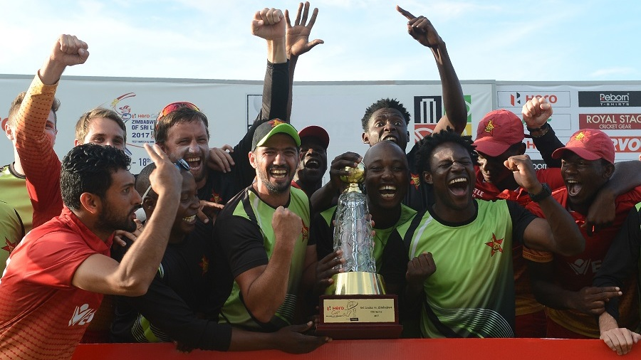 Members of Zimbabwe's ODI team celebrate their series win over Sri Lanka