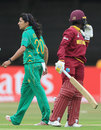 Asmavia Iqbal gave Kycia Knight a send-off after getting her to edge one behind, Pakistan v West Indies, Women's World Cup, Leicester, 11 July 2017