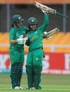 Nahida Khan congratulates Javeria Khan on her fifty, Pakistan v West Indies, Women's World Cup, Leicester, 11 July 2017