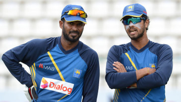 Upul Tharanga and Dinesh Chandimal at a practice session