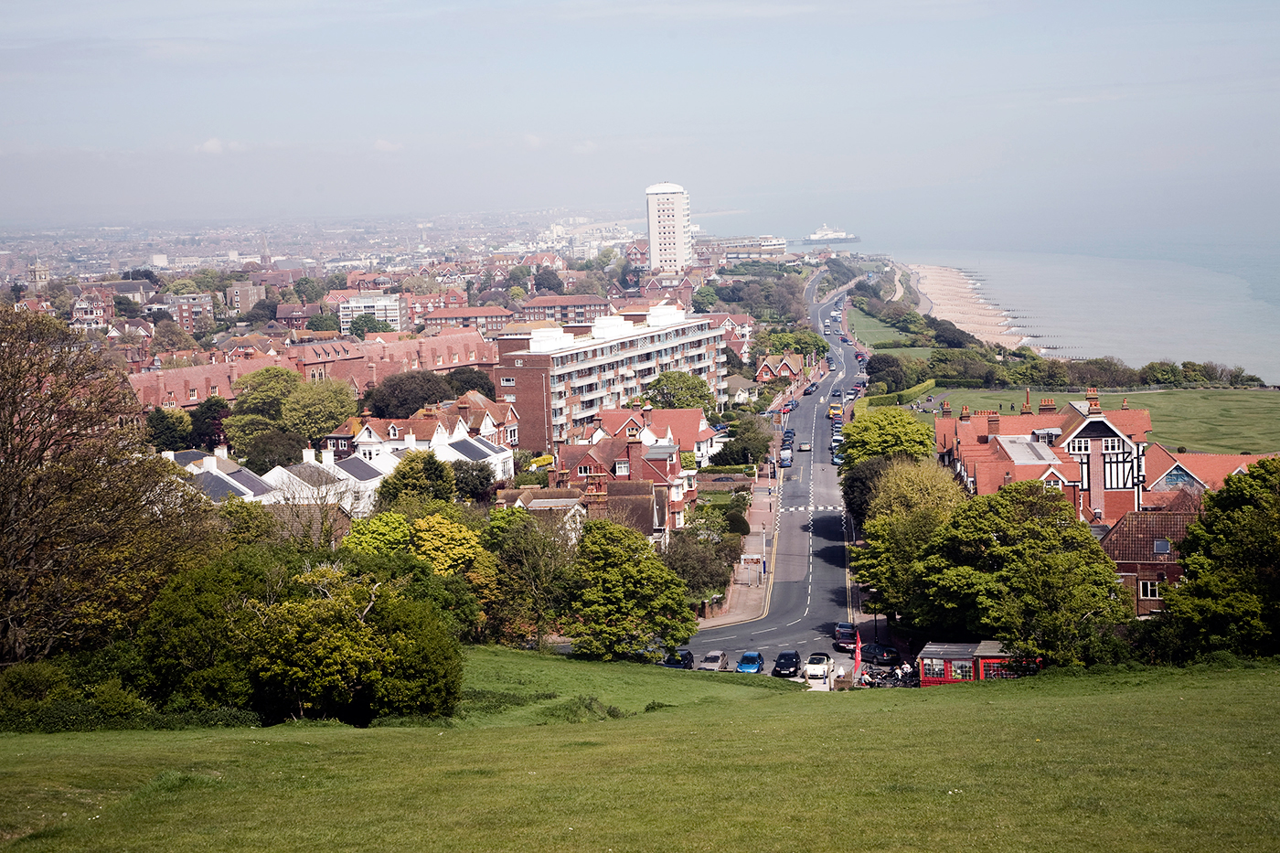 The town and beach of Eastbourne