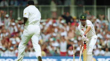Hansie Cronje is bowled by Devon Malcolm