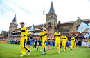 Gloucestershire's players head into the field, Gloucestershire v Kent, NatWest T20 Blast, South Group, Cheltenham, July 13, 2017