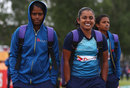 Sri Lanka's Udeshika Prabodhani and Chandima Gunaratne arrive in Leicester ahead of their match against Pakistan, Pakistan v Sri Lanka, Women's World Cup, Leicester, July 15, 2017